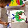 Bemalen des Hockers mit Acrylfarben