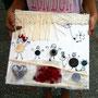 Collage mit Knöpfen, Stoffen und Bändern