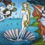 EL NACIMIENTO DE VENUS. Versión azoriniana. Acrílico y óleo sobre tabla. 120 x 75 cm. Encargo personalizado