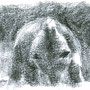 ours au clair de lune, ursus arctos, Roumanie, pastel