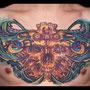 タトゥー バイオメカ カラー 髑髏 スカル 胸 フロント