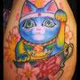 タトゥー 招き猫 カラー 桜