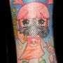 タトゥー カラー 女の子 かわいい ガスマスク うさぎ
