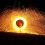 Feuershow - Poi mit Stahlwolle