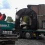 Ankunft des Spezialtransports in Krefeld