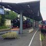 """Im Gerolsteiner Bahnhof kommt es am Bahnsteig zum Treffen mit dem """"Kylltal Express"""" nach Bitburg"""