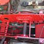 Lackierte Rahmeninnenwangen im Bereich des Aschkastens