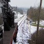 Blick hinuter in den Weissacher Bahnhof