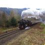 Mit knapp 60 km/h ist der Zug hinter Kordel unterwegs