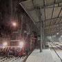 Im dichten Schneetreiben hat die Maschine am Abend Bad Herrenalb erreicht - Foto: Étienne Barthelmeß