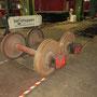 Ausgebaute Achsen des Tenders vor dem Transport in die Werkstatt der HGK in Köln