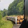 Blick auf die fünf Wagen Anhängelast bei Hohenfels