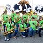 At the parade, the Cadillac Marching Vikings were in full KISS regalia. Check the tuba covers.