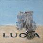 Lucia '04, Öl und Montage auf Holzkasten 30 x 30 x 3 cm