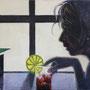 Frau mit Longdrink '04, Öl auf Leinwand 70 x 90 cm