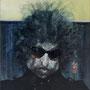 Bob Dylan '99(frei nach Krüger), Öl auf Holz 63 x 53 cm