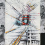 2021- london calling - mixed media with acrylic colors on PVC and collage frame - 30 x 40