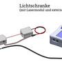 Anschlusschema triggie pro+ mit Lichtschrankenaufbau EX-L-DC und EX-LASER-DC