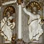 Kanzelfiguren Evangelist Johannes und Salvator Mundi