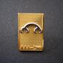 abgelehnter Prototyp / Musterpin golden Vorderseite (Schrift)