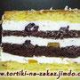 Шоколадный и ванильный бисквиты, творожно-йогуртовый крем, фрукты