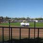 Unser Blick direkt durch Wohnmobilfenster ins Stadion :)
