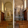 Dans les deux nefs latérales s'élèvent deux autels en bois et plâtre marbré. L'un est dédié à la vierge, l'autre à Saint-Martin.