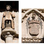 POSADA DE LA HERMANDAD. Siglo XV. Uno de los heraldos que rematan las columnas. Escudo de los Reyes Católicos mantenido por el águila de San Juan.