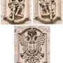 PUENTE DE SAN MARTÍN. Dos monarcos sentados en tronos y el escudo de Toledo.