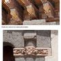 Casa en el Corredorcillo de San Bartolomé. Detalles de policromía (caras) en los canecillos y el escudo en el capitél.