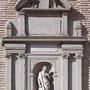 PUERTA DEL CAMBRÓN. Encima de la hornacína hay una inscripción referente a la construcción de la Puerta por Wamba. Debajo: ANNO DO MDLXXI FHILINN.II HISPAN.REGE.JOAN GUTERRIO TELLO PRAET.URBIS.