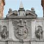 PUERTA DEL CAMBRÓN. Escudo de la ciudad y dos figuras de reyes godos sentados.