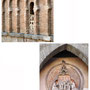 PUERTA DEL SOL. Piedra paleolítica colocada entre la arquería y medallón con el tema de la Imposición de la Casulla a San Ildefonso. Hacía 1575.