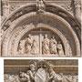 HOSPITAL DE SANTA CRUZ. Escena de la Invención de la Cruz. Santa Elena y el Cardenal Mendoza de rodillas, detrás de ambos San Pedro y San Pablo y dos pajes. En la hornacina la Caridad.