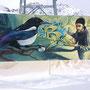 Spray can on canvas, 210 cm x 500 cm. For Play Engadin Festival