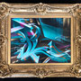 Spray can and acryl on canvas. 60 cm x 48 cm, 82 cm x 70 cm incl. old frame.