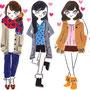 集英社Myojo 2011.1月号 中山優馬w/B.I.Shadowページにて好みの女の子のファッションを描きました♪