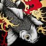 """""""Koi 2"""" von Magenta - 2013, Acryl und Gold auf Leinen, 100 x 120"""