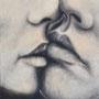 """""""Kiss"""" von Magenta - 2014, Acryl auf Leinen, 40 x 40"""