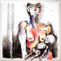 """Serie Angst """"Frau sein"""" von L`Hédonie - 2013, Acryl auf Leinen, 30 x 30 cm"""