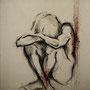"""""""Fallen Angel"""" von L`Hédonie - 2013, Acryl, Blut und Stahl auf unbehandeltem Leinen, 120 x 150 cm"""