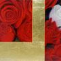 「余白の創造…赤と白」 3号P(27.3×19.0cm) 油彩画 金箔