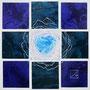 「薔薇圖 ... ハートの余白 -B-」/0号S(18.0×18.0cm)/油彩、虹彩箔(ブルーロワーズ、ブルーカナール)、キャンバス、パネル