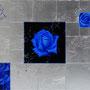 「薔薇圖 ... 青の余白」 8号P(45.5×33.3cm) 油彩画、銀箔、プラチナ箔、アルミ箔