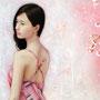 「余白の創造 ... 枝垂桜と君の一時」 25号変(80.3×40.15cm) 油彩画