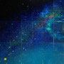 「Star Diagrm ... The Emerald Blank」/12号S(60.6×60.6cm)/油彩画、金箔、銀箔、プラチナ箔、アルミ箔、黒箔