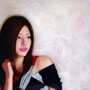 「余白の創造 ... 枝垂桜と君」 4号F(33.3×24.2cm) 油彩画