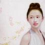「余白の創造 ... 枝垂桜と君」 6号M(41.0×24.2cm) 油彩画 金箔