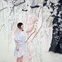 第87回白日会展(2011)/「余白による創造.桜と君」/100号S(162.0×162.0cm) 油彩画