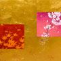 「春秋圖 ... 櫻と紅葉の余白」/15号M(65.2×45.5cm)/油彩、金箔、キャンバス、パネル
